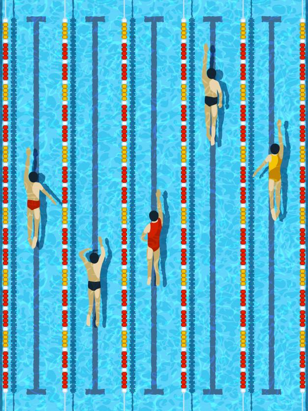nageurs dans les lignes
